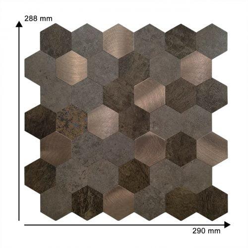 Zelfklevende mozaiek matjes koper bruin