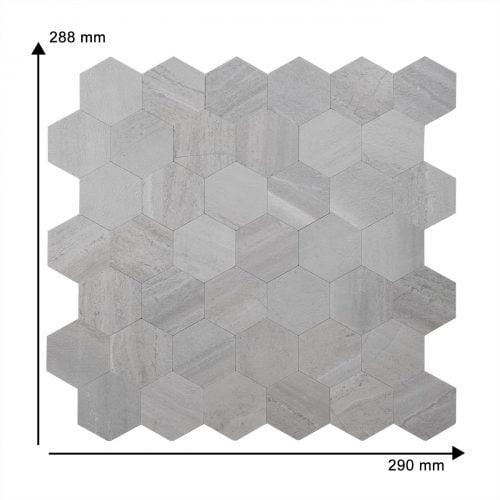 Mozaiek Hexagon GRIJS GRIGIO AFMETING