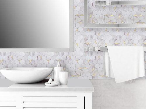 Mozaiek natuursteen wit