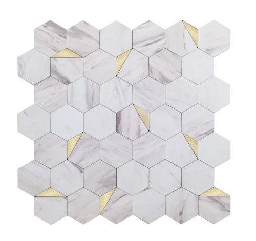 Hexagon Wit Marmer Mozaiek