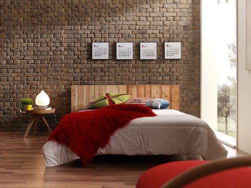 Baksteen muur slaapkamer